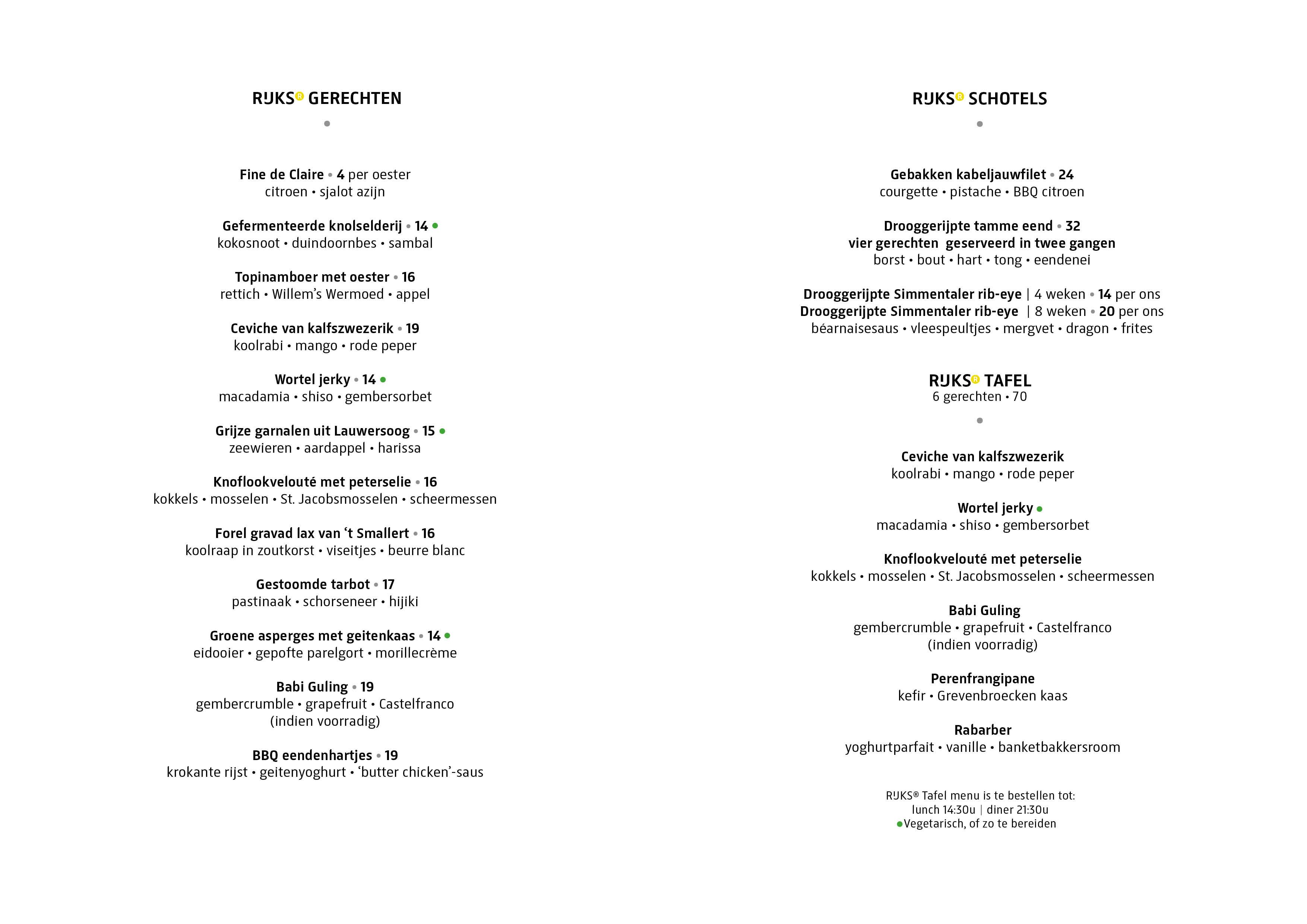Rijks Restaurant Menu
